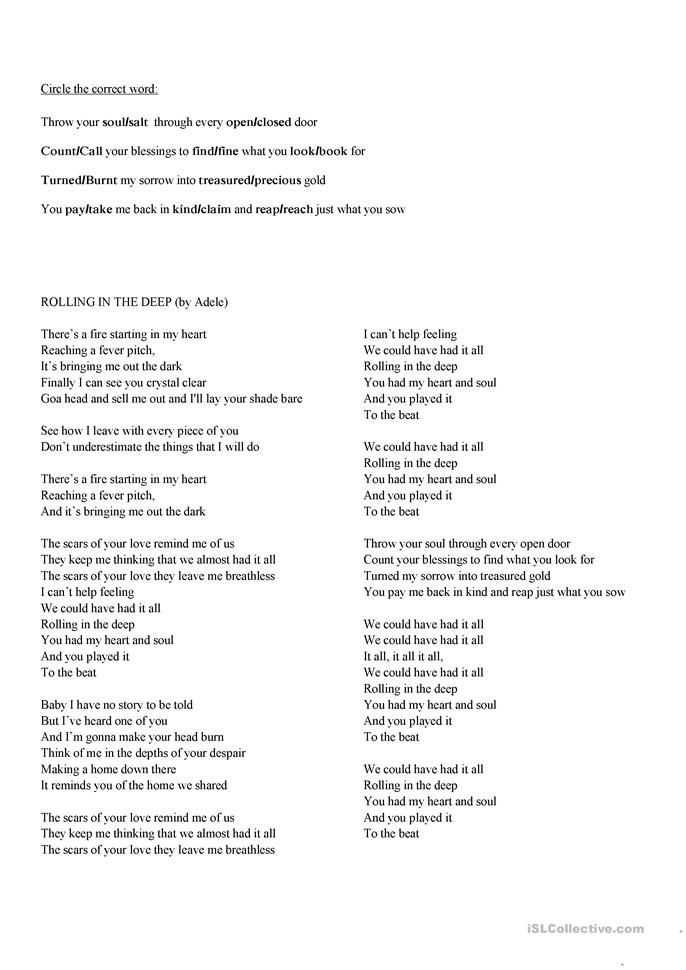 Rolling In The Deep Adele S Song With Exercises Ingles