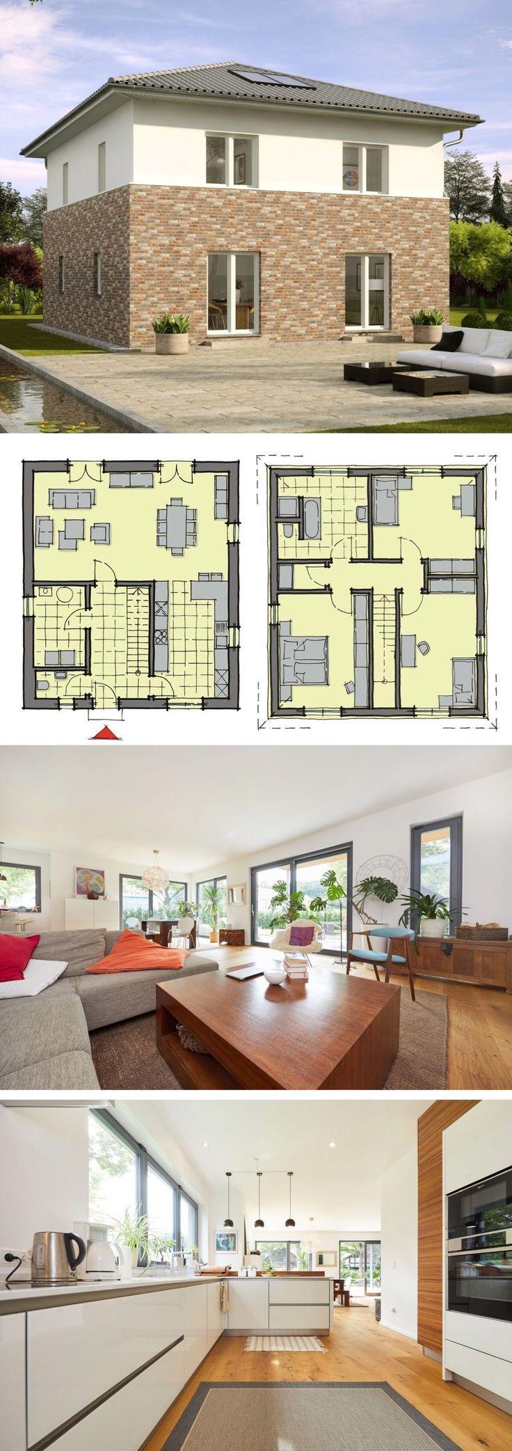 Stadtvilla mit Klinker und Putz Fassade & Grundriss 150 qm