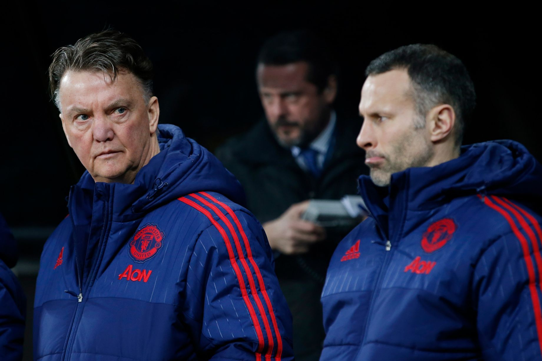 Louis Van Gaal And Assistant Manager Ryan Giggs Before The Match Winter Jackets Rain Jacket Canada Goose Jackets