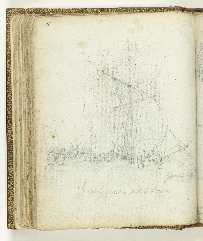 Jan Brandes   Javaanse prauw met twee stuurriemen, Jan Brandes, 1779 - 1785   Potloodschets van een zeilend Javaans schip en kleine prauw. Met opschrift. Onderdeel uit het schetsboek van Jan Brandes, dl. 2 (1808), p. 96.