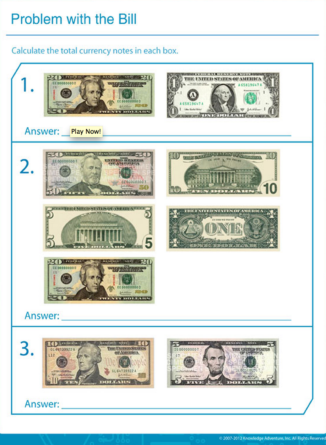 Adding Dollar Bills Worksheet