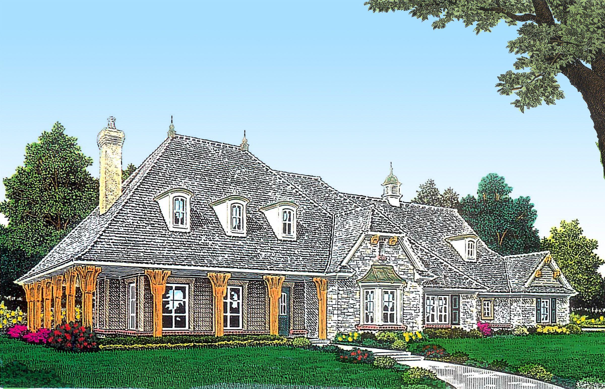 Plan 48427fm European Home Plan With Wraparound Porch European House House Plans French Countryside