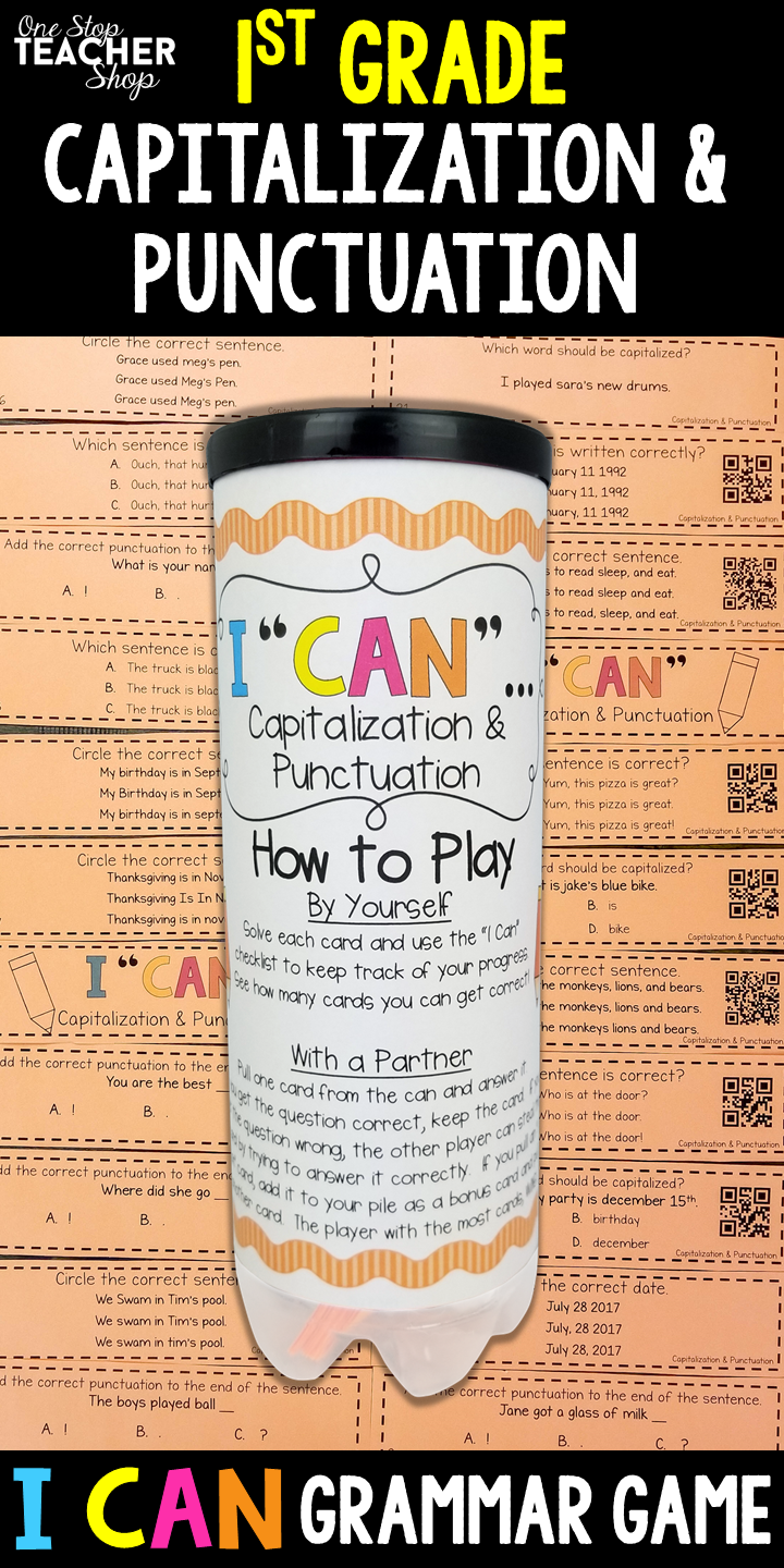 1st Grade Grammar Games Capitalization Punctuation I Can Grammar Games For 1st Grade Grammar Review Grammar Practice 1st Grade Common Core 1st
