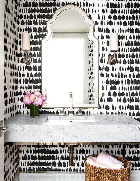 Black & White backsplash // Marble Counter top // pink peonies