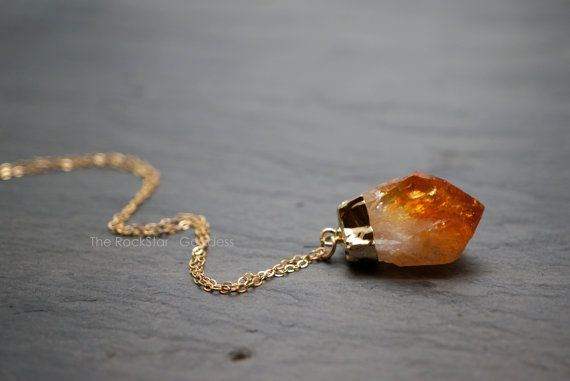 Citrine necklace raw citrine citrine crystal gold citrine raw citrine crystal plated in gold and on a gold filled chain citrine is the stone of abundance and joy and helps to manifest wealth and aloadofball Image collections