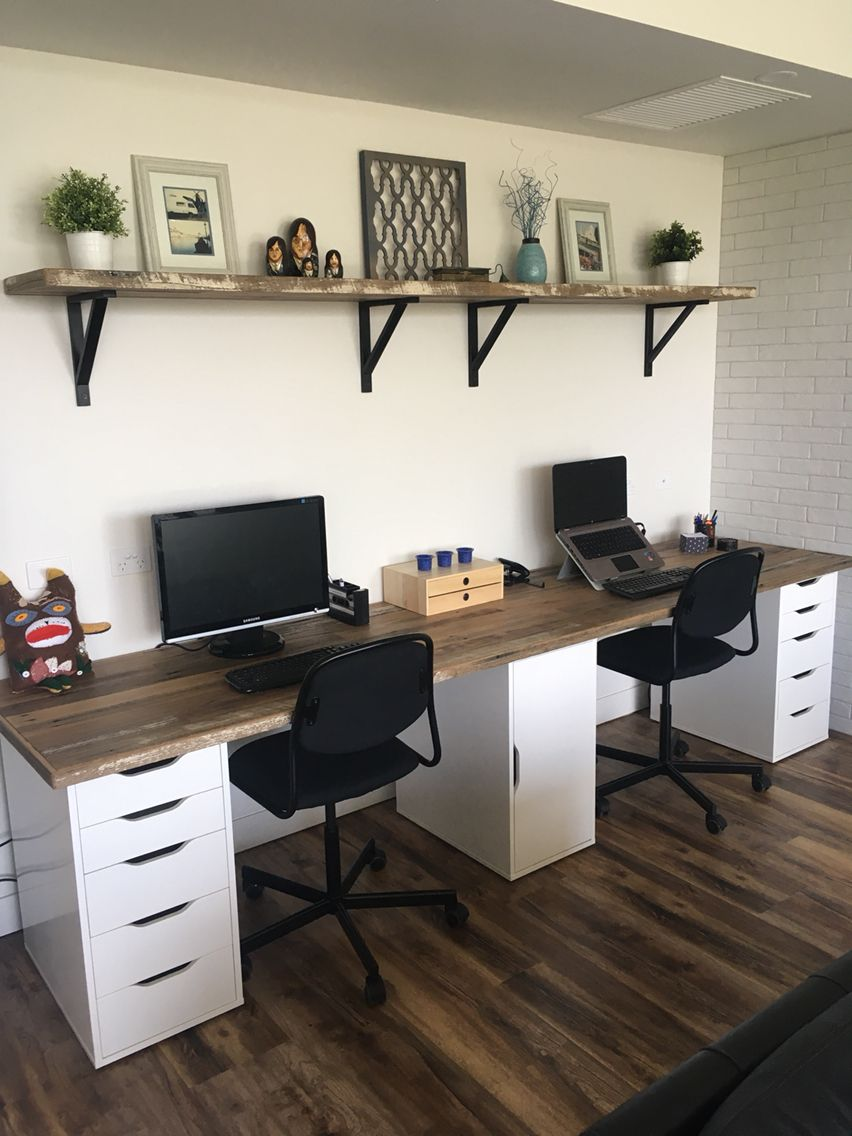 Double timber study desk Office in 2019 Home office