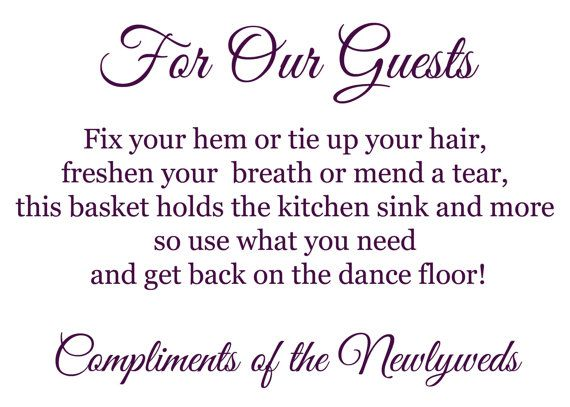 How To Make A Courtesy Basket. Wedding Bathroom BasketsWedding Bathroom  SignsWedding ...