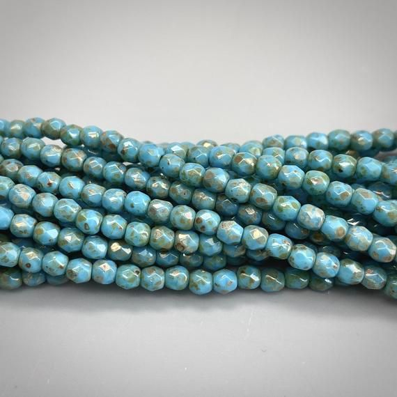 Czech Druk Beads 3mm Tiny Round Beads Blue 3mm Smooth round light blue 3mm Sky Blue Bead 100pcs