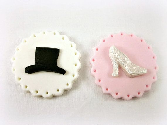 12 Cupcake Cookie Wedding Fondant ToppersTop Hat And Bridal Shoe Toppers