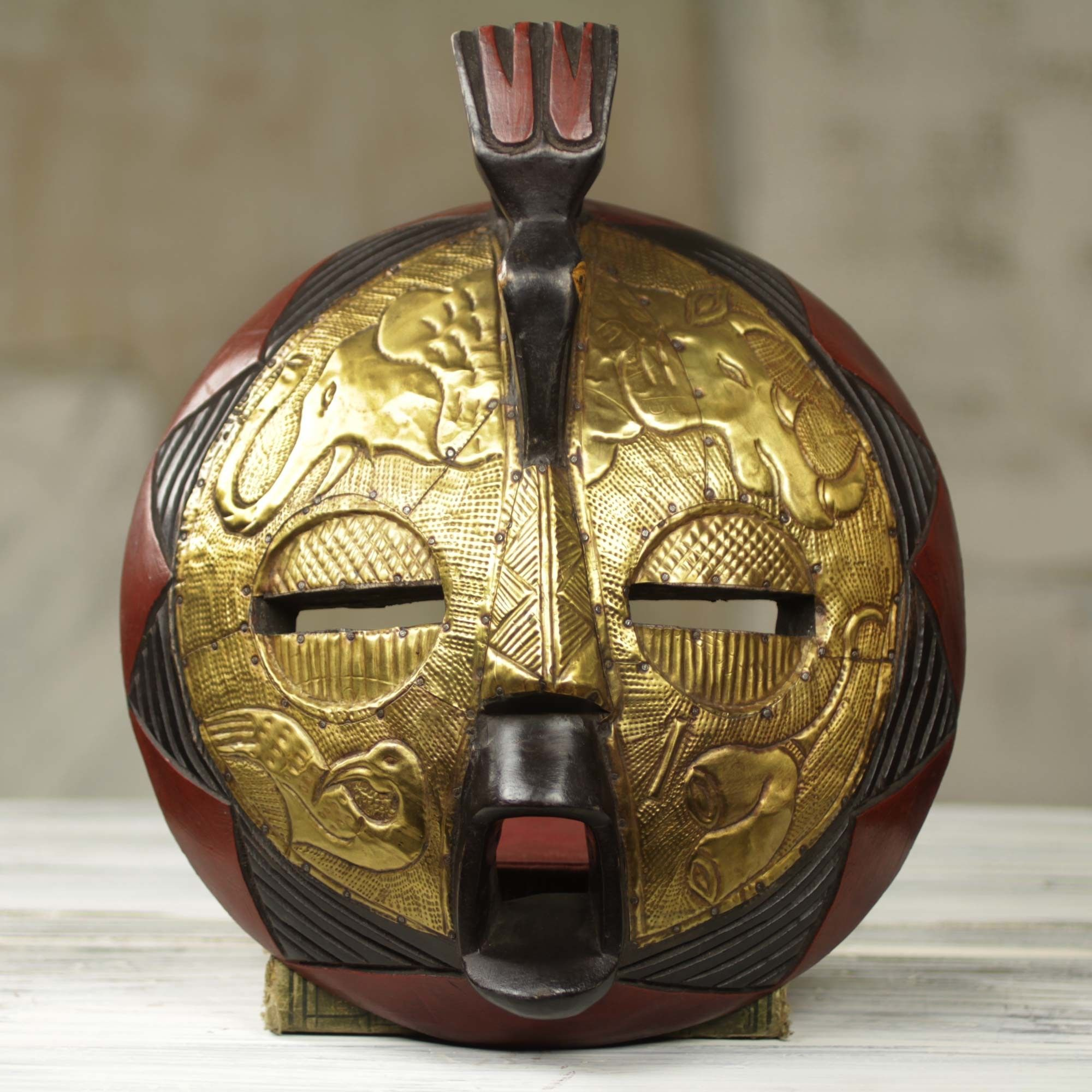 Circular African Mask Covered In Brass With Animal Motifs Wall Décor ...