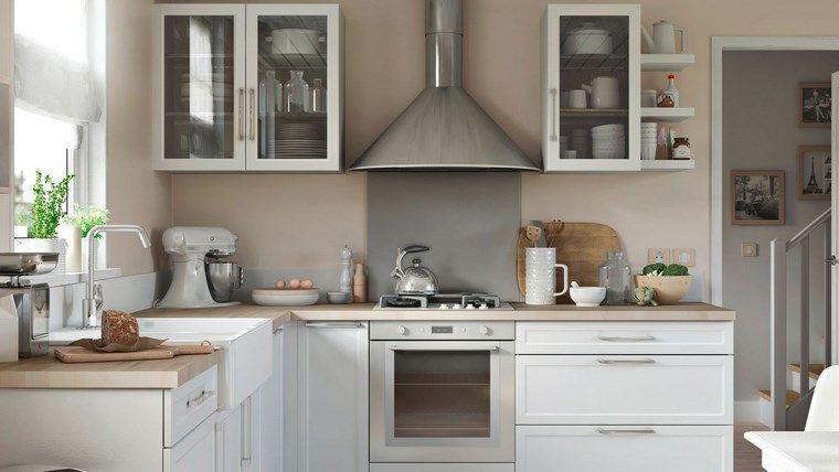 Pared beige en la cocina moderna puertas de entrada de for Cocinas en ele