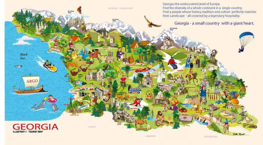 Georgia Travel Map Illustrated Tourist Map of Georgia | Extra Travel Gallery in 2019