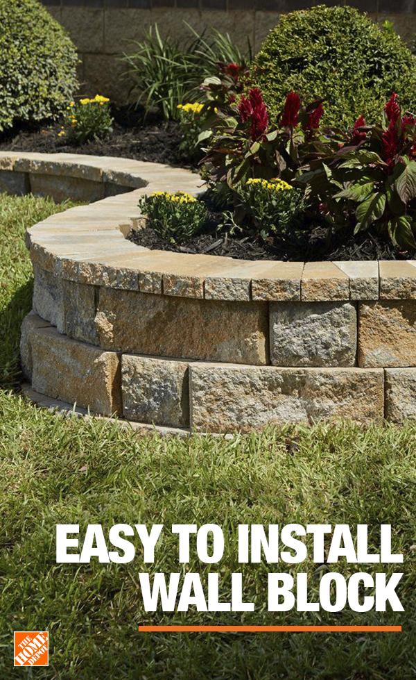 Retaining Wall Bricks Home Depot : retaining, bricks, depot, Easy-to-Install, Block, Concrete, Garden,, Landscaping, Retaining, Walls,, Backyard, Designs