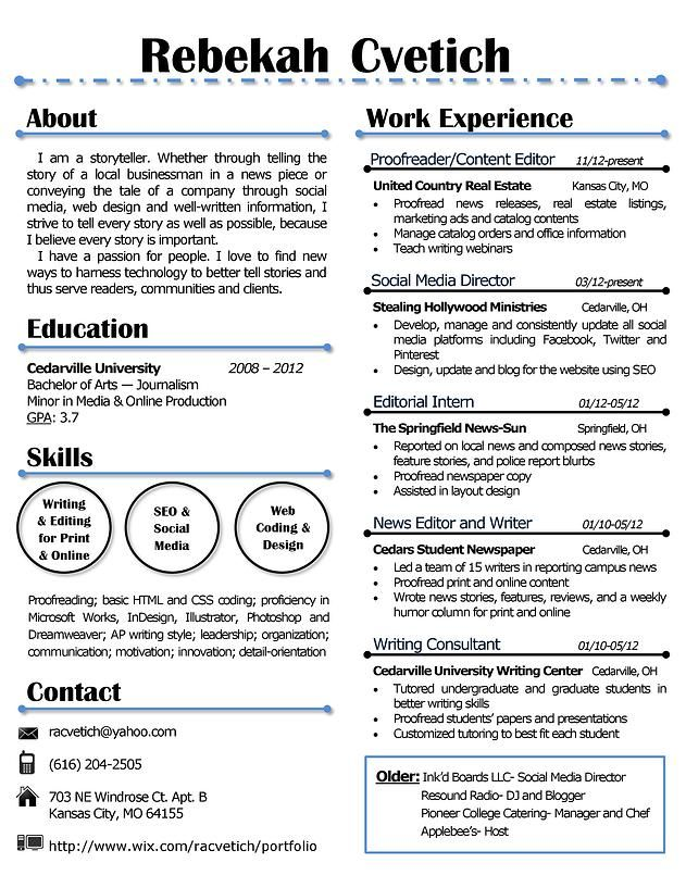 My resume design that is creative yet simple I\u0027ll redo yours for - Copy Editor Resume