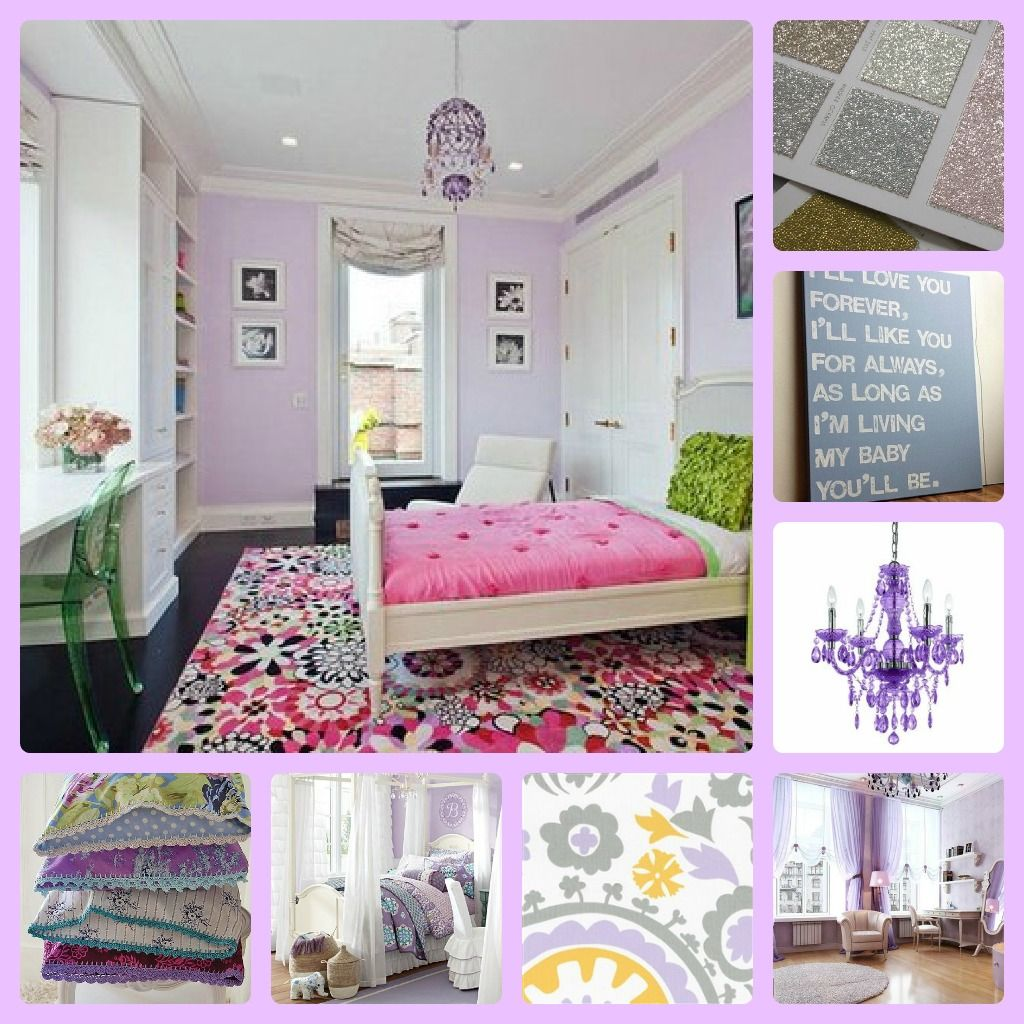 Pale Purple And Lavender Girls Room With Hotpink And Green