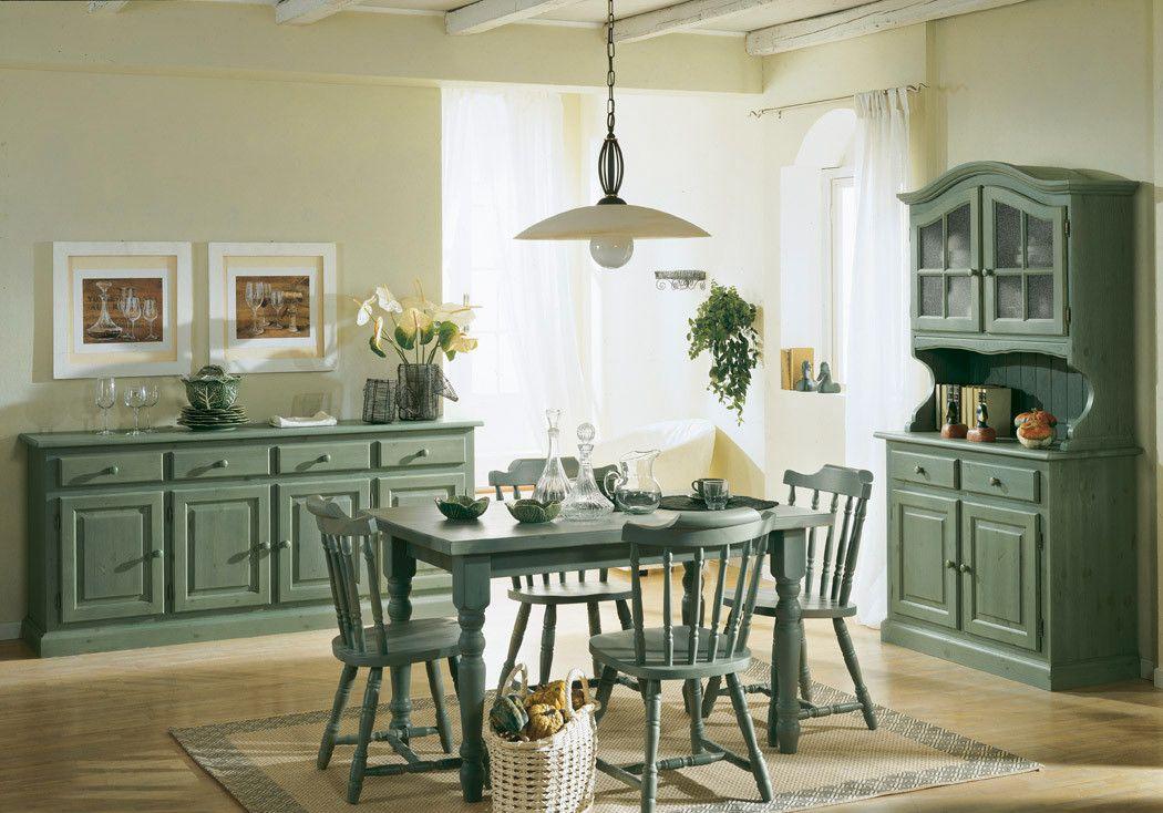 Credenza Rustica Verde : Soggiorno stile rustico colore verde legno di pino verniciatura