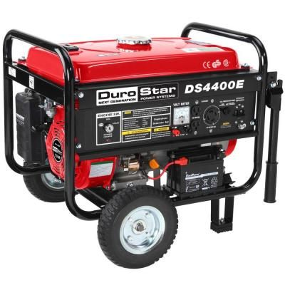 Durostar 3500 Watt Gasoline Powered Electric Start Portable Generator With Wheel Kit Ds4400e Gas Powered Generator Portable Generator Power Generator