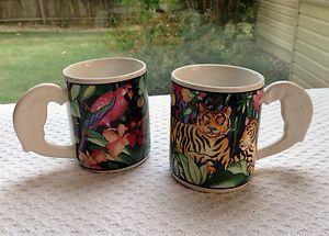 2 Rain Forrest Vitromaster Coffee Mug Parrot Tiger Free Ship Stoneware Tropical