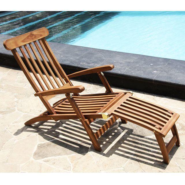 Steamer / Chaise longue en teck huilé GARDENANDCO : prix ...