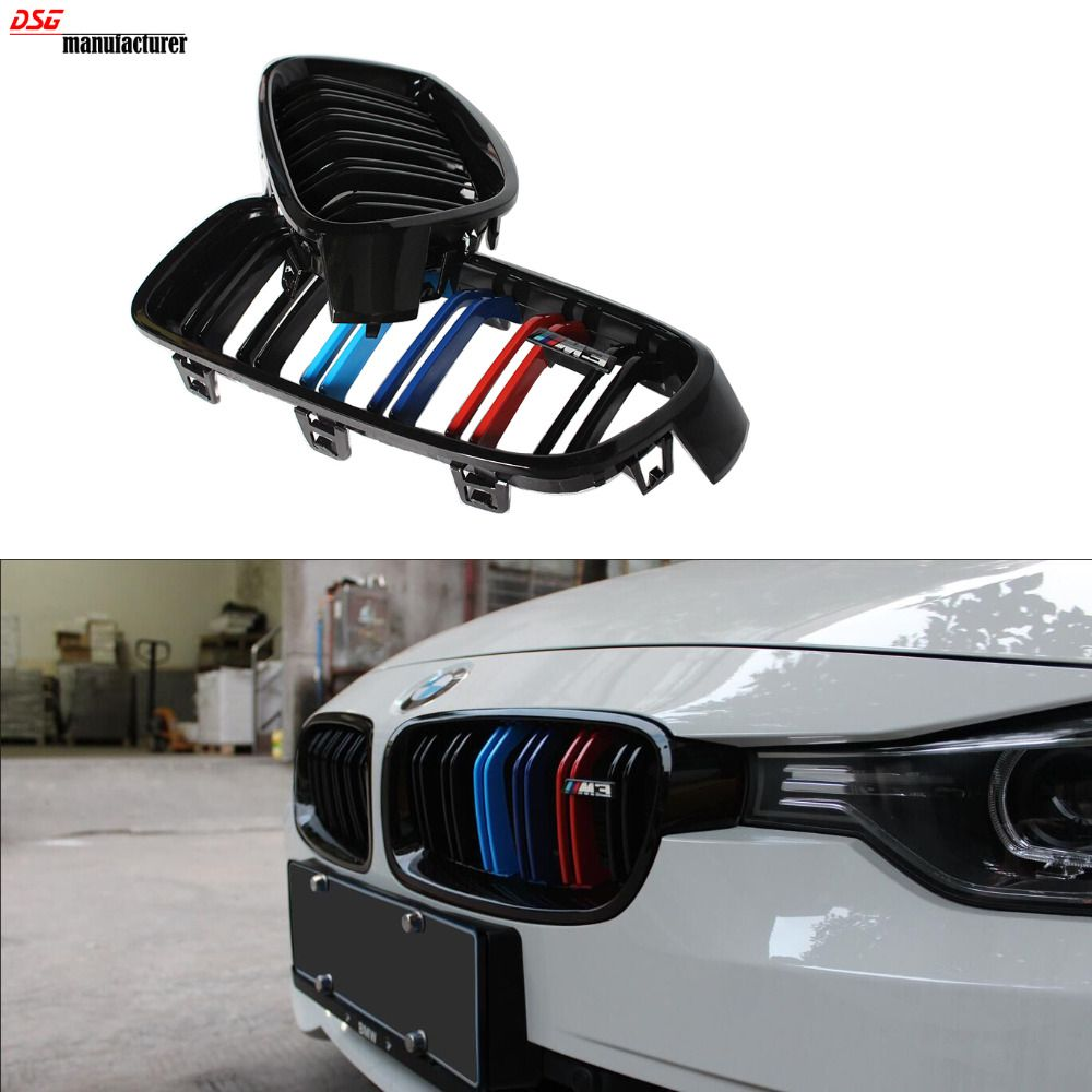 F30 f31 dual slat m color front kidney grill grille for bmw f30 f31 2012 2015