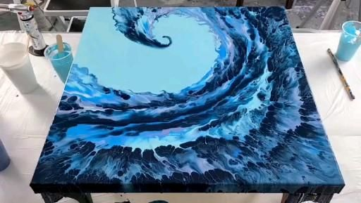 Acrylic ocean wave blowout - Acrylic Pouring