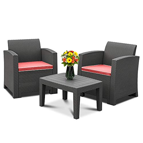 Bonnlo 4 Pieces Outdoor Rattan Garden Furniture Set Patio Conversation Set with Coffee Table Brown All-Weather Rattan Chair Patio Wicker Sofa Set for Yard,Pool or Backyard