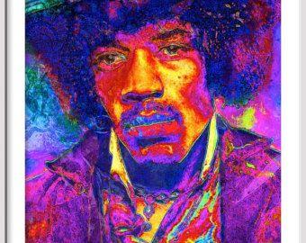 Jimi Hendrix Psychedelic Portrait Large Rock Roll Pop Art
