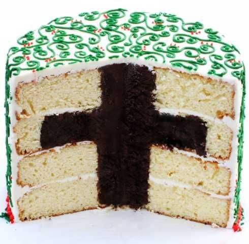 Personalised Happy Easter Bible Cross Round Edible Icing Party Cake Topper