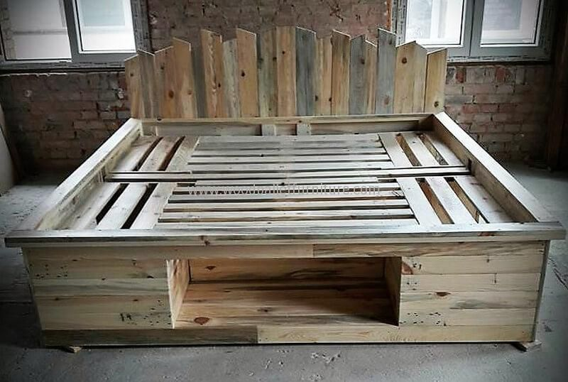 Recycled Pallet Bed With Storage Option Palletfurniturebeds Bed