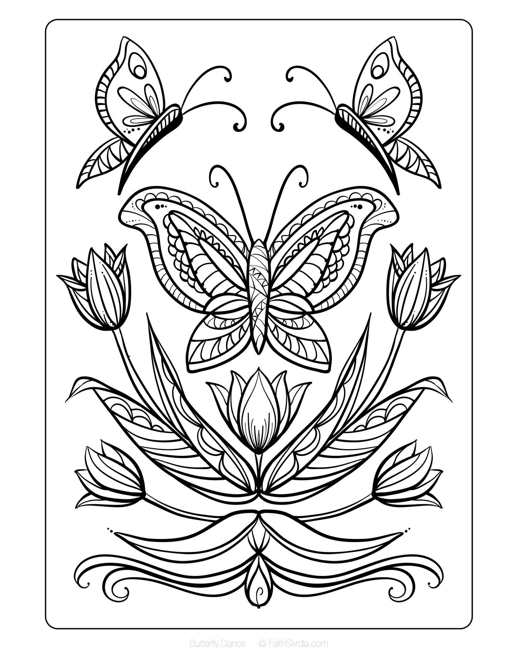 Butterfly Dance Free Adult Coloring Page By Faith Skrdla Free