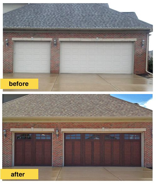 This homeowner replaced traditional raised panel steel for Clopay steel garage doors