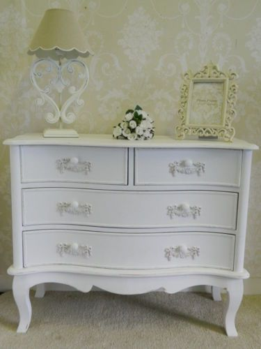Ivory chest of drawers shabby vintage chic bedroom furniture home