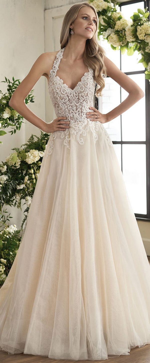 Charming Tulle Halter Neckline A-line Wedding Dress With Beaded Lace ...