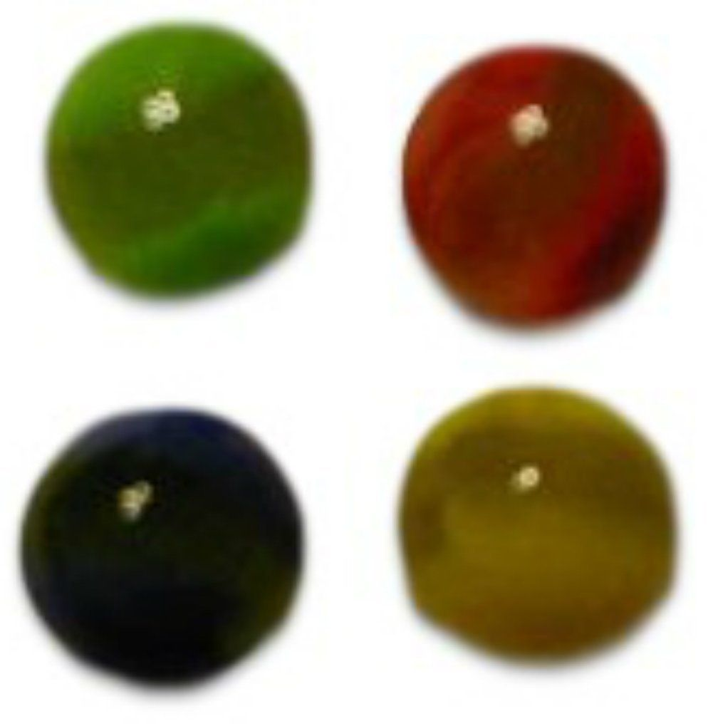 """Amazon.com: Unique & Custom {5/8"""" Inch} Set of Approx 24 """"Round"""" Opaque Marbles Made of Glass for Filling Vases, Games & Decor w/ 6 of Each Color Design [Red, Green, Yellow & Blue]: Home & Kitchen"""