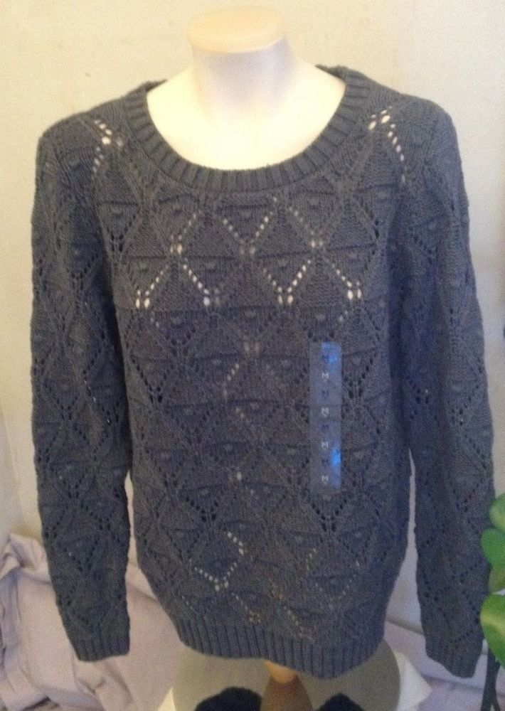 Tommy Hilfiger Womens Gray Cable Knit Crew Neck Sweater SIZE M 100% Cotton NWT! #TommyHilfiger #Crewneck
