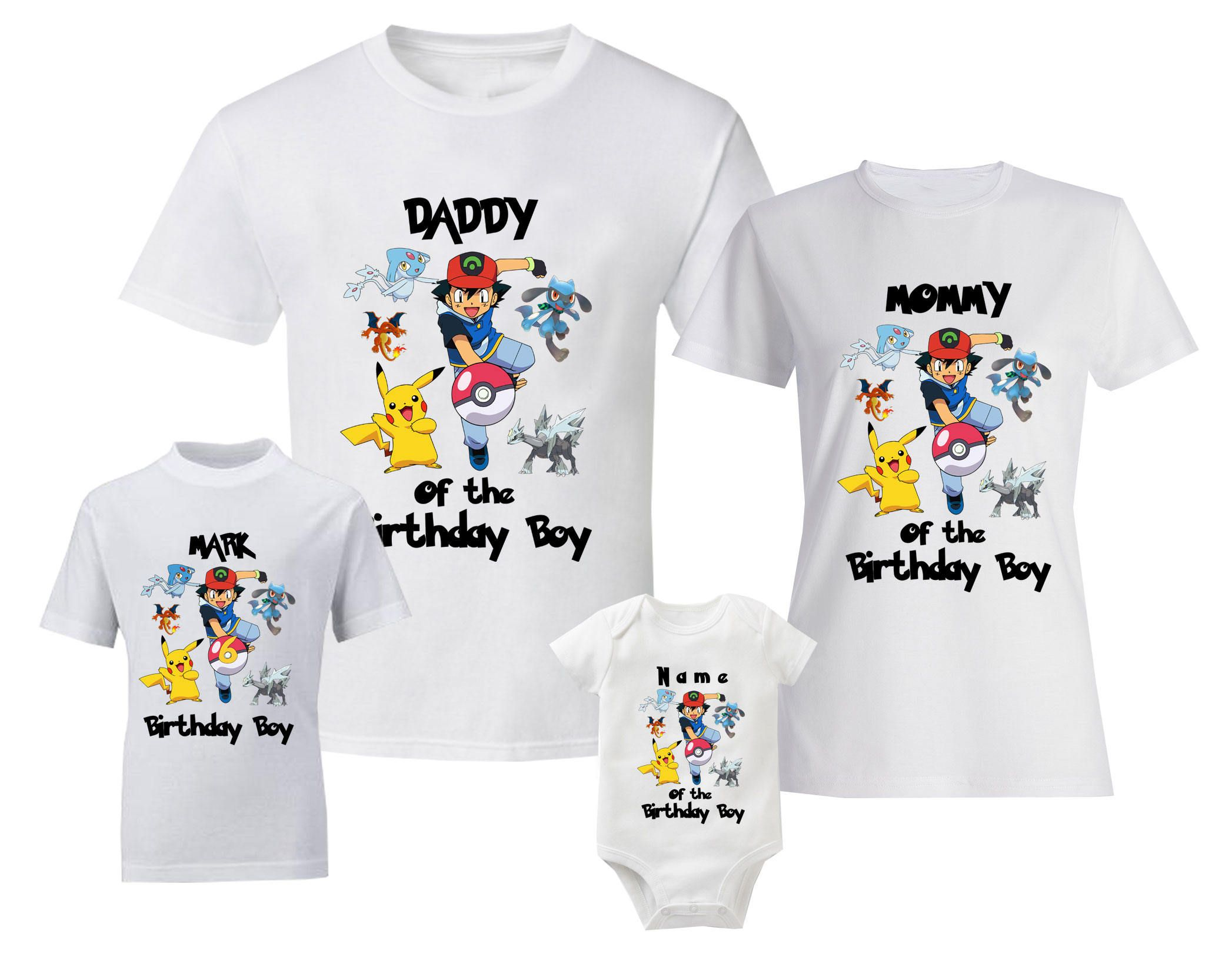 Pokemon Birthday T Shirts Personalized Shirt Custom Family And Baby Bodysuit By BestDesignStoreGifts On Etsy