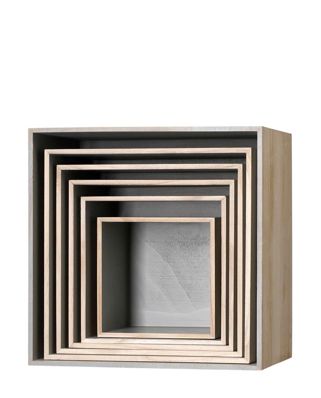 Holzbox Regal Set Quadratisch