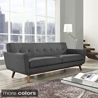 Engage Cherry Wood Leg Sofa   Overstock Shopping   Great Deals on Modway  Sofas   Loveseats. ABBYSON LIVING Bradley Grey Tufted Fabric Sofa   Overstock com