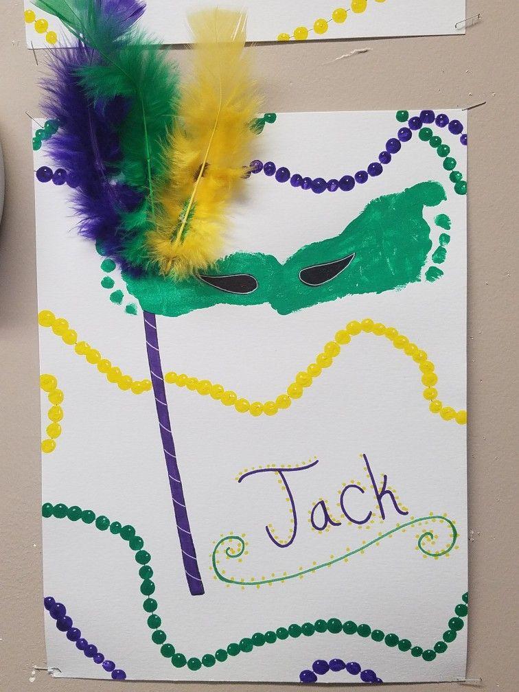 Mardi Gras Baby Footprint Craft Carnival Kids Crafts Mardi Gras Crafts Mardi Gras Activities