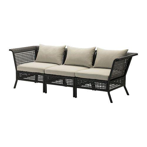 KUNGSHOLMEN 3-seat Modular Sofa, Outdoor, Black-brown