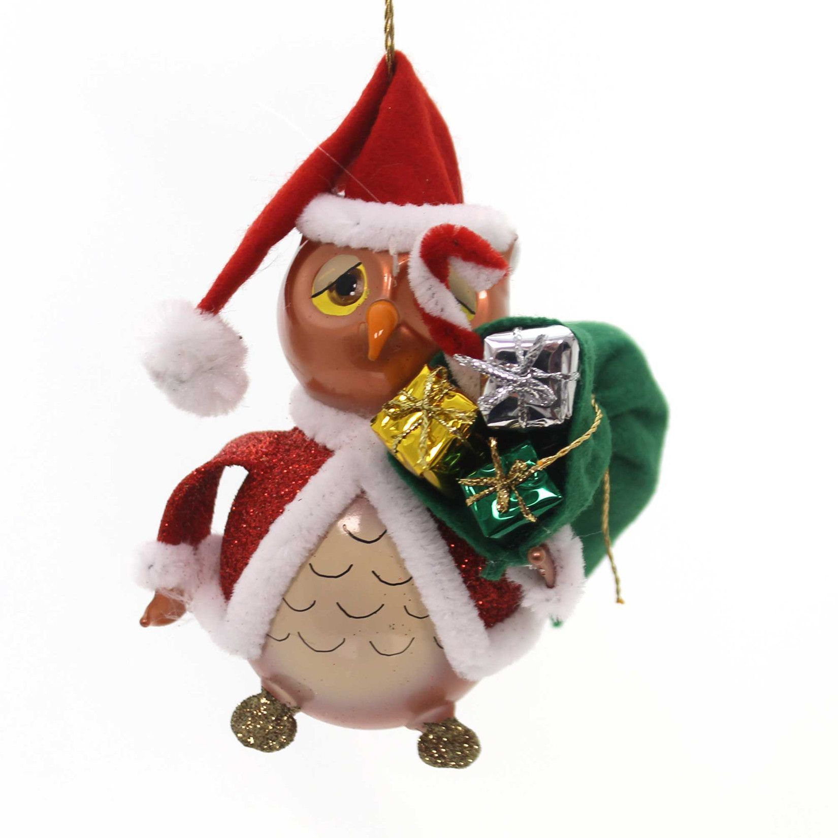De Carlini Santa Owl Glass Ornament