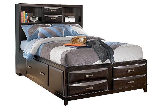 Almost Black Kira Full Storage Bed View 2   Base zapatera ...
