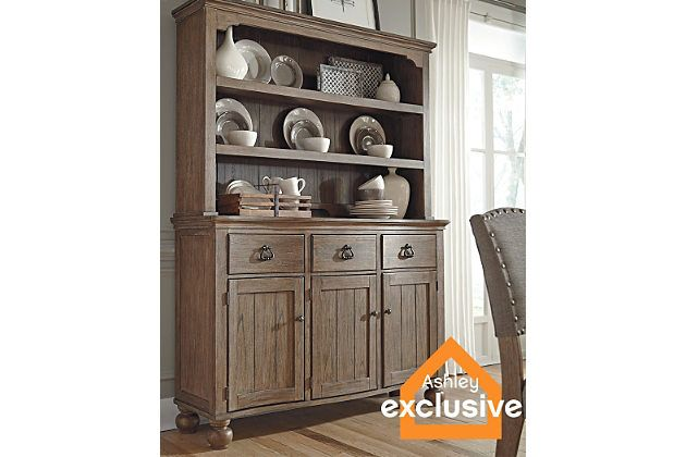 Grayish Brown Tanshire Server And Hutch View 1