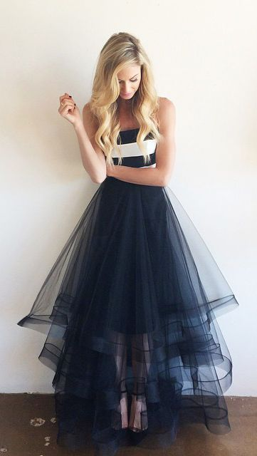 Blue Strapless Prom Dress Tulle Skirt