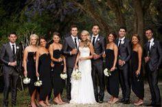 Black Bridesmaid Dresses Grey Groomsmen Suits Black Bridal Parties Black Bridesmaids Bridal Party Attire