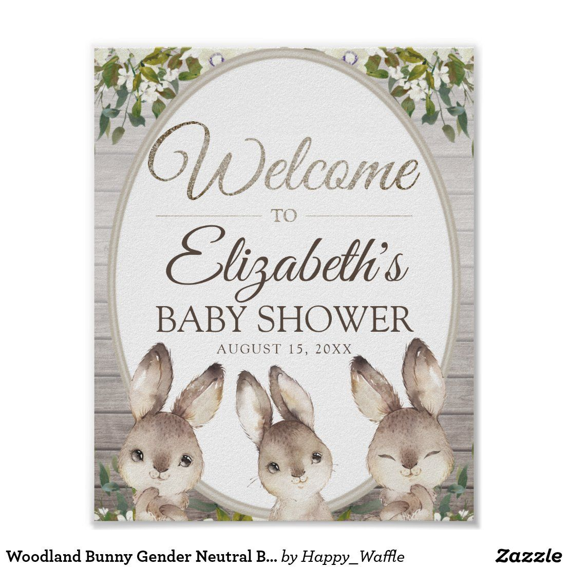 Woodland Bunny Gender Neutral Baby Shower Welcome Poster Zazzle Com In 2021 Bunny Baby Shower Theme Neutral Baby Shower Woodland Bunny
