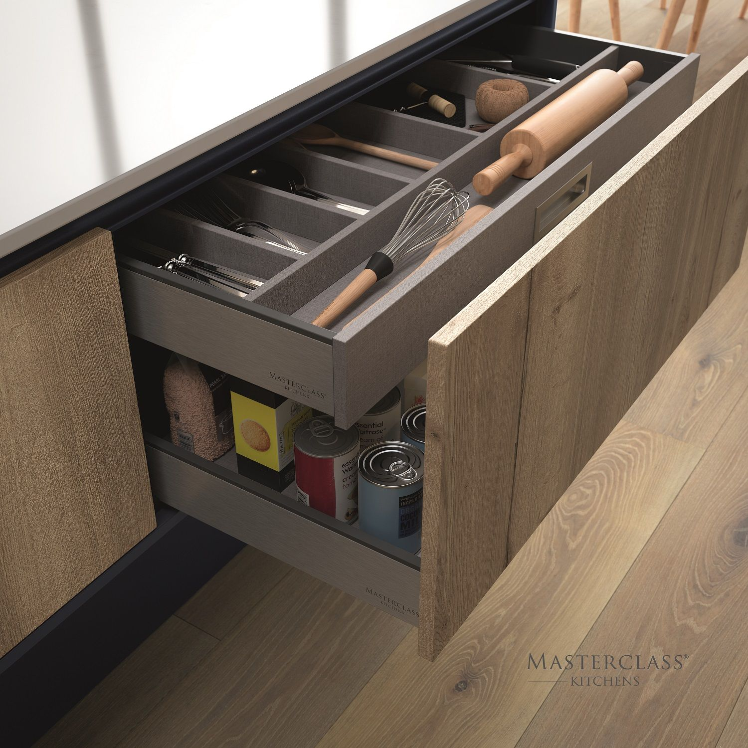 Deep Drawers Allow For Hidden Cutlery Drawers To Maintain Design Symmetry In Your Kitchen Kitchen Cabinet Layout Kitchen Storage Solutions Clean Kitchen Design
