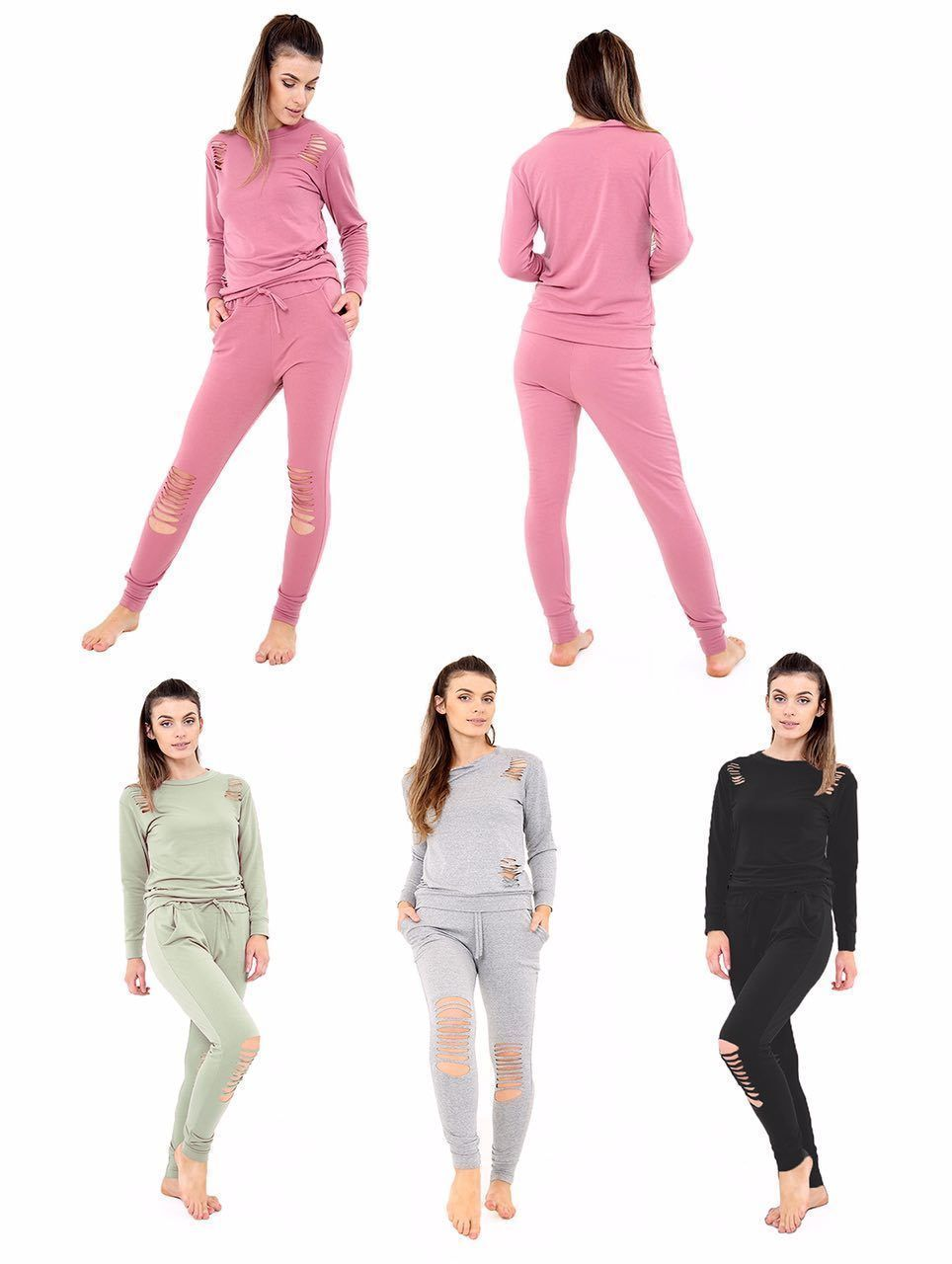 Womens New Distressed Ripped Hooded Joggers Lounge wear Tracksuit Set UK 8-26