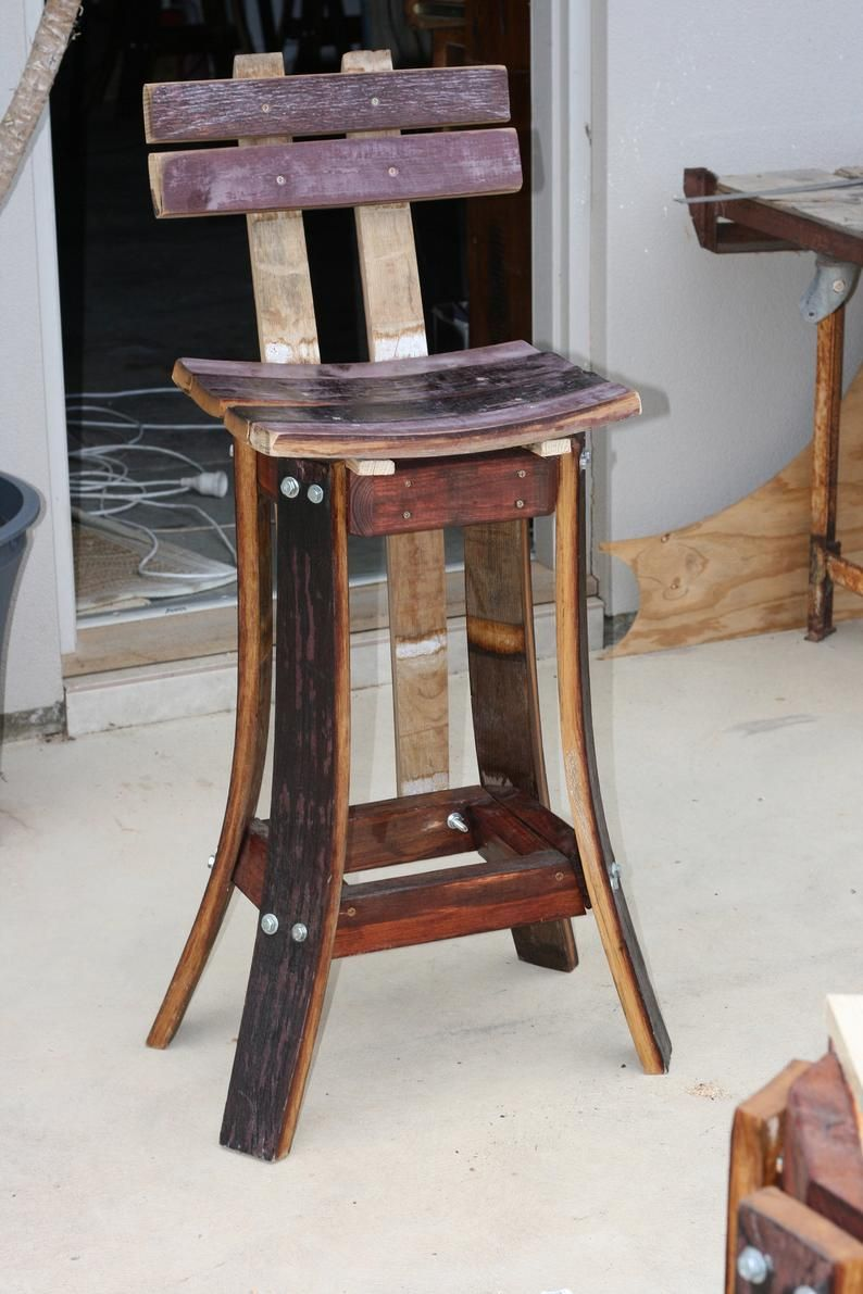High Back Bar Stool Up Cycled Made From Red Wine Barrels Wood In