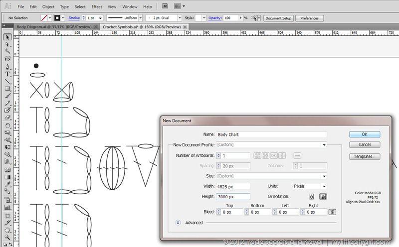 Crochet Symbol Charts with Adobe Illustrator CS5 from Trade Secrets ...